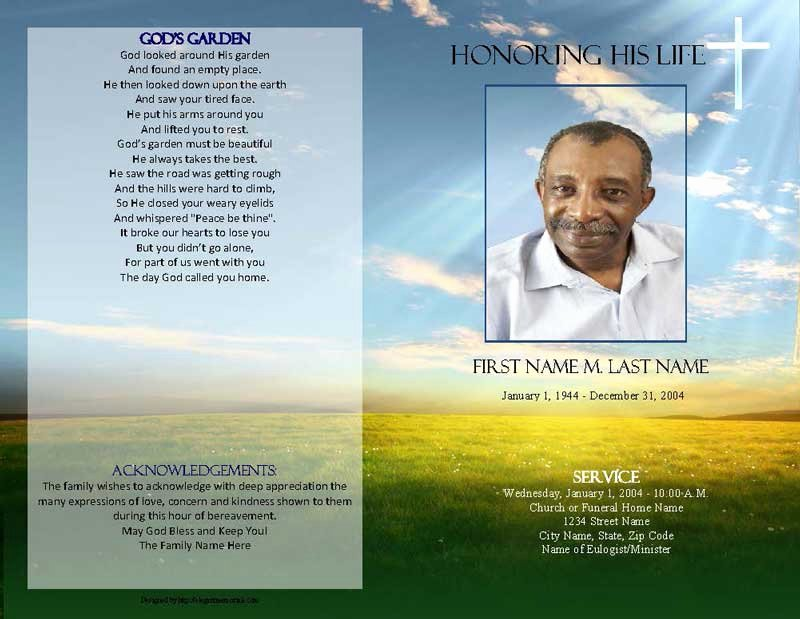 Funeral Program Template Publisher Beautiful Majestic Sunset Funeral Program Template Elegant Memorials