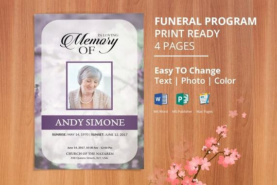 Funeral Program Template Publisher Beautiful Printable Funeral Program Template Memorial Obituary