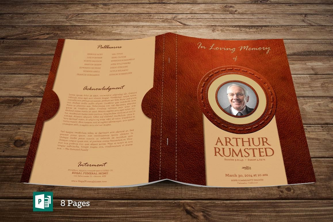 Funeral Program Template Publisher Elegant Leather Funeral Program Publisher Template 8 Pages