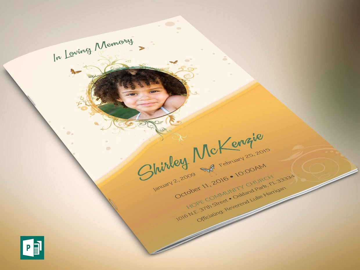 yellow princess funeral program