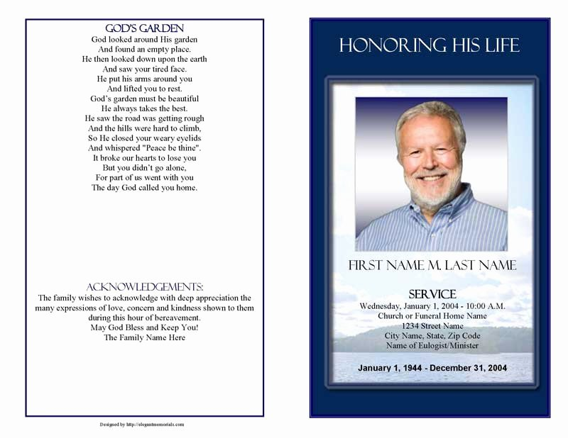 Funeral Program Template Publisher Fresh Funeral Program Templates