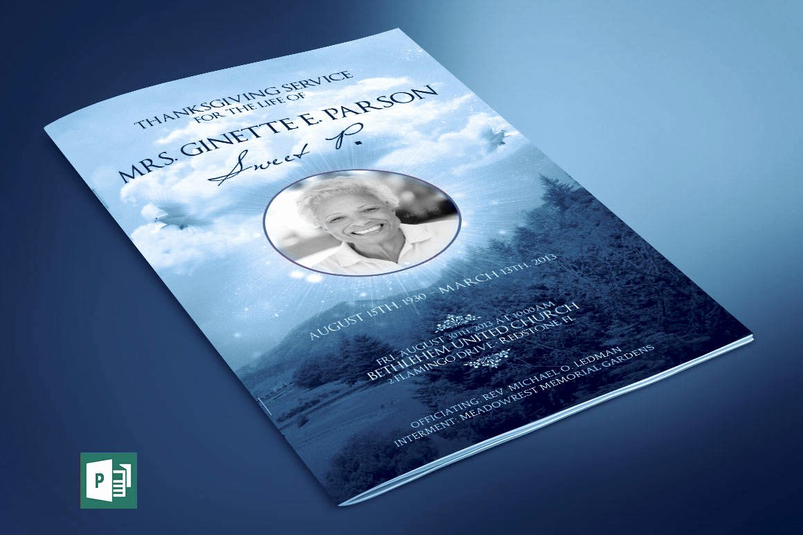 Funeral Program Template Publisher Inspirational Blue Sky Funeral Program Publisher Template