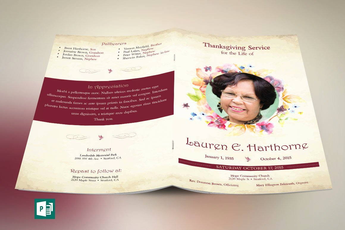Funeral Program Template Publisher New Watercolor Funeral Program Publisher Template On Behance
