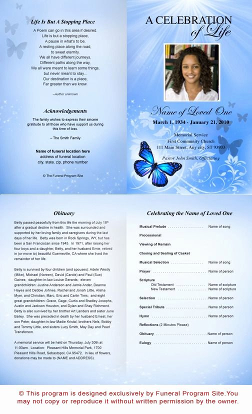 Funeral Program Template Publisher Unique Free Funeral Program Templates