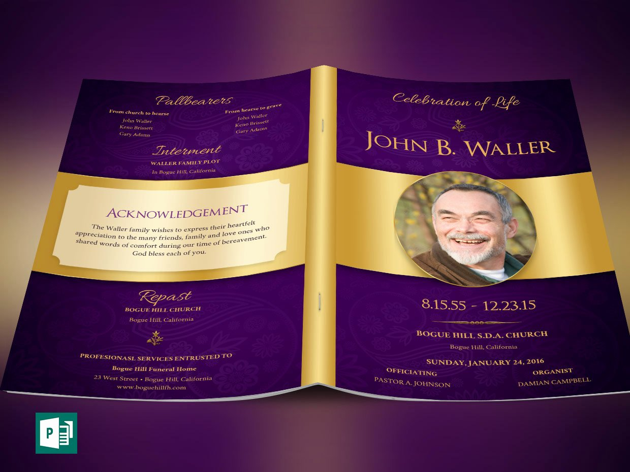 Funeral Program Template Publisher Unique Regal Funeral Program Publisher Template by Godserv On Etsy