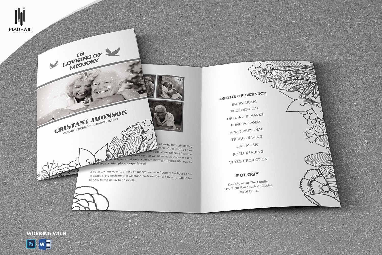Funeral Program Template Word Free Awesome Black & White Style Funeral Template Brochure Templates