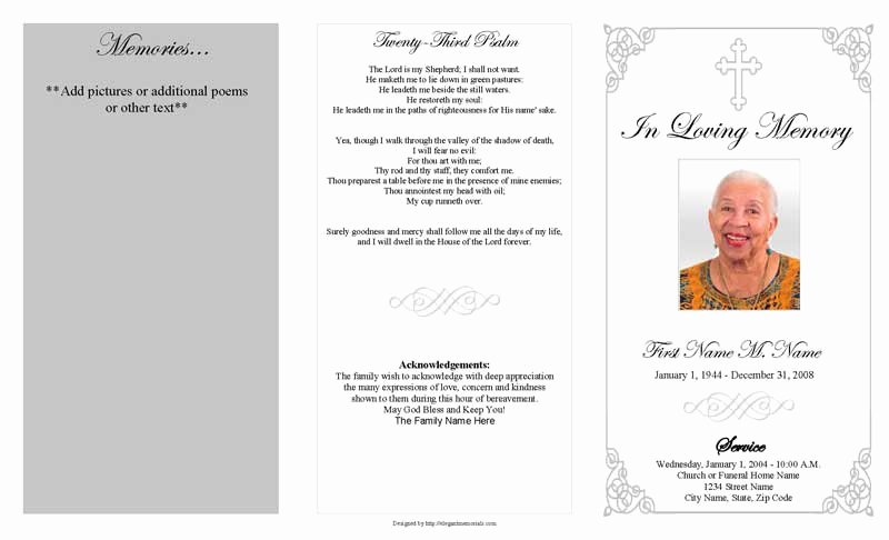 Funeral Program Template Word Free Awesome Grey ornate Cross Trifold Funeral Program Template