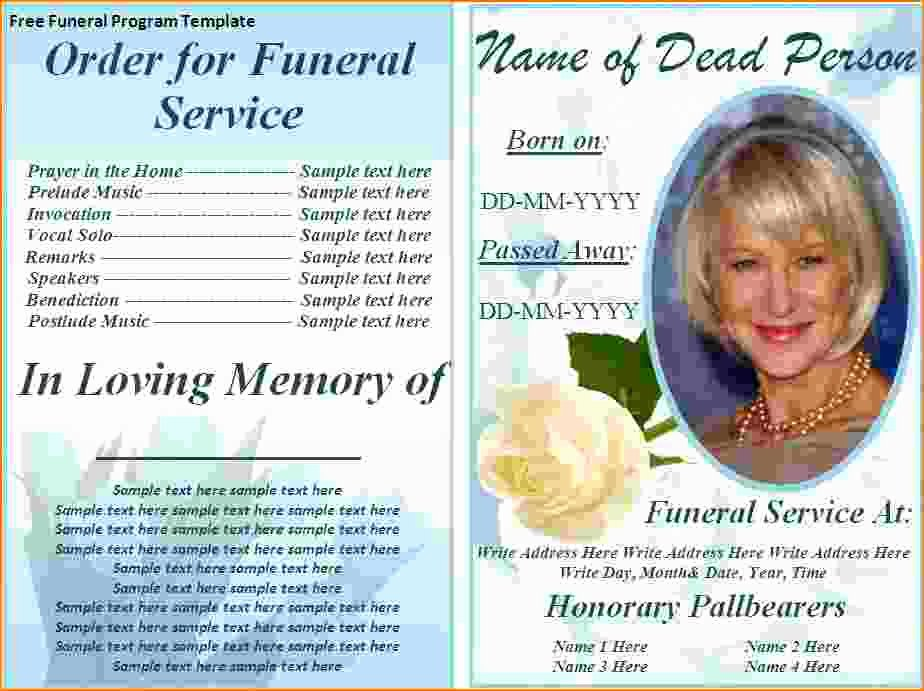 Funeral Program Template Word Free Beautiful 5 Free Funeral Program Template for Word