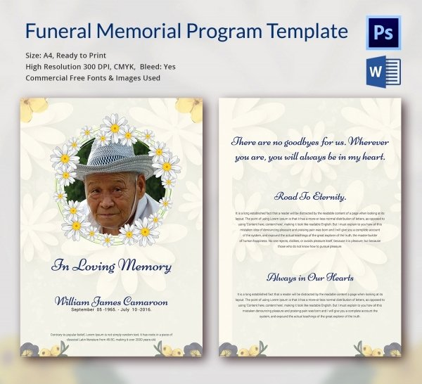 Funeral Program Template Word Free Inspirational 6 Funeral Memorial Program Templates Word Psd format