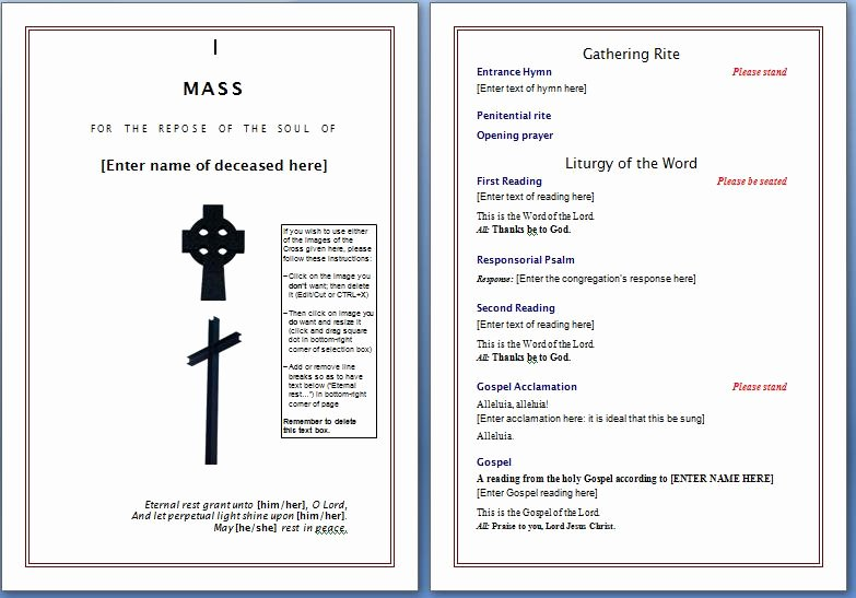 Funeral Program Template Word Free Inspirational Free Funeral Program Template – Word Templates for Free