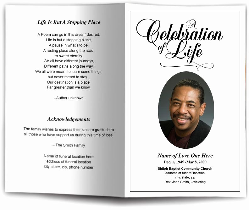 Funeral Program Template Word Free New Funeral Program Obituary Templates