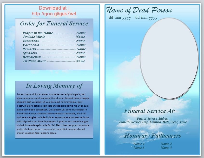 Funeral Program Template Word Free Unique Free Funeral Pamphlet Template Knowledge