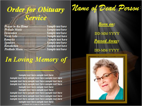 Funeral Program Template Word Free Unique Funeral Obituary Template 25 Free Word Excel Pdf Psd