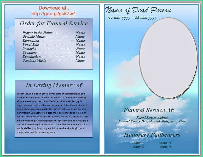 Funeral Program Templates Word Awesome Free Funeral Program Templates for Word Pics – Funeral