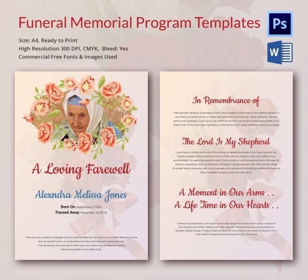 Funeral Program Templates Word Best Of 6 Funeral Memorial Program Templates Word Psd format