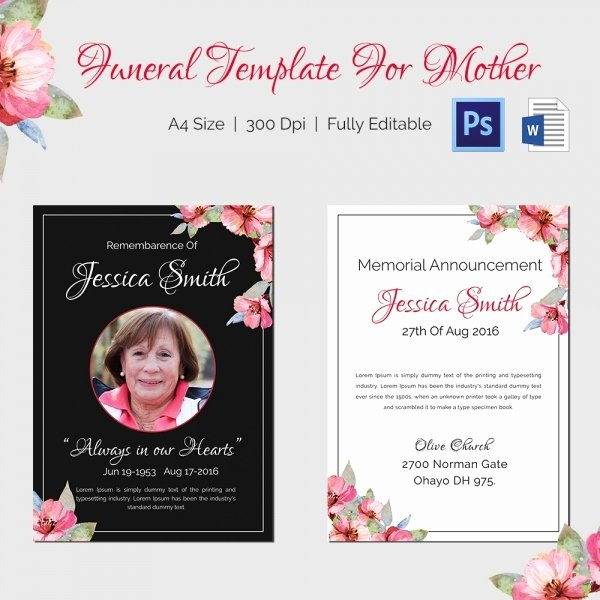 Funeral Program Templates Word Best Of Funeral Program Template 16 Word Psd Document Download