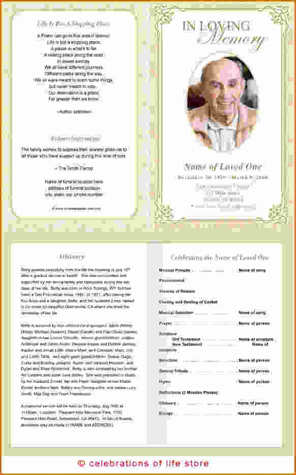 Funeral Program Templates Word Elegant 11 Free Funeral Program Templates