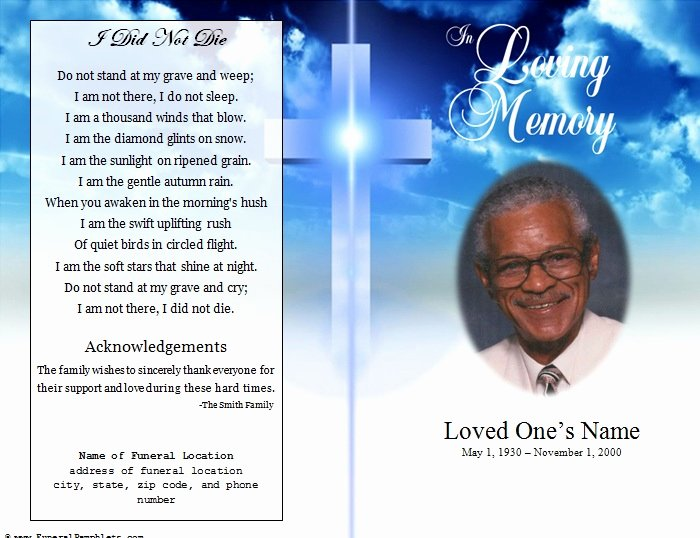 Funeral Program Templates Word Inspirational Cross Single Fold Funeral Program Funeral Pamphlets