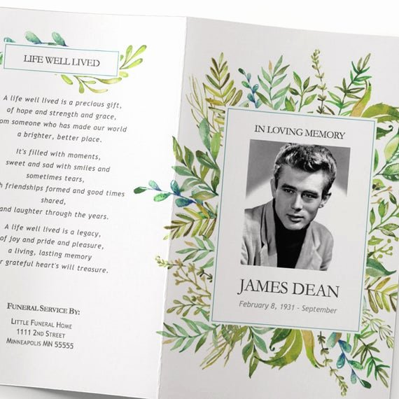 Funeral Program Templates Word New Funeral Program Template Leafy Watercolor Greenery Funeral