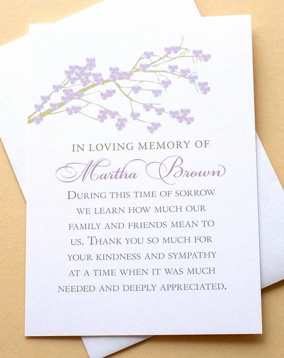 Funeral Thank You Sayings Beautiful Sympathy Thank You Cards with A Branch Of Purple by