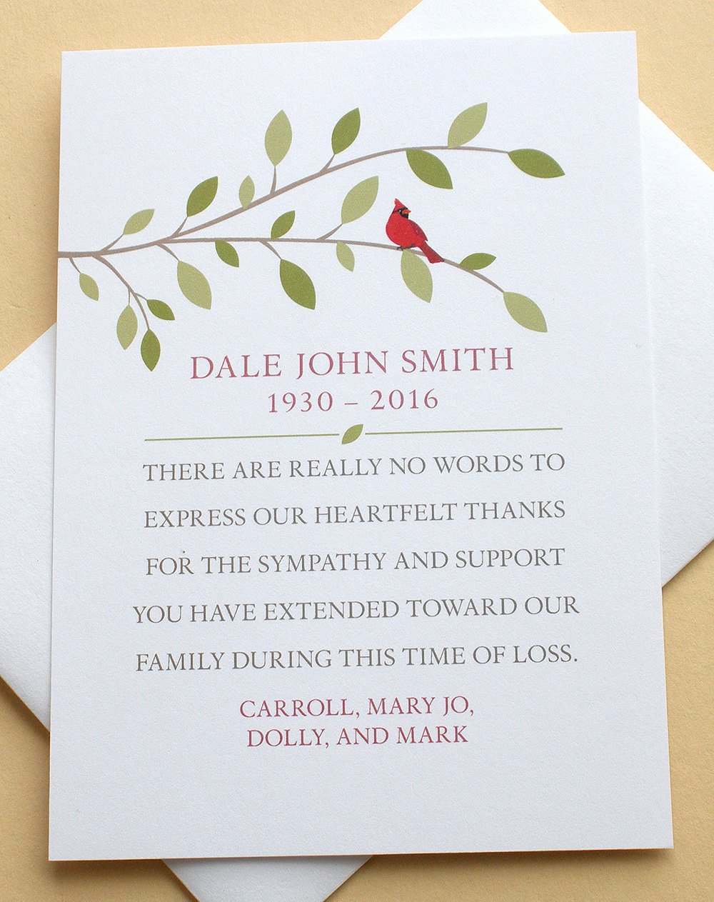 Funeral Thank You Sayings Beautiful Sympathy Thank You Cards with A Red Cardinal Personalized