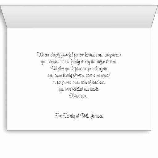 Funeral Thank You Sayings Best Of Sympathy Memorial Thank You Note Card Rose