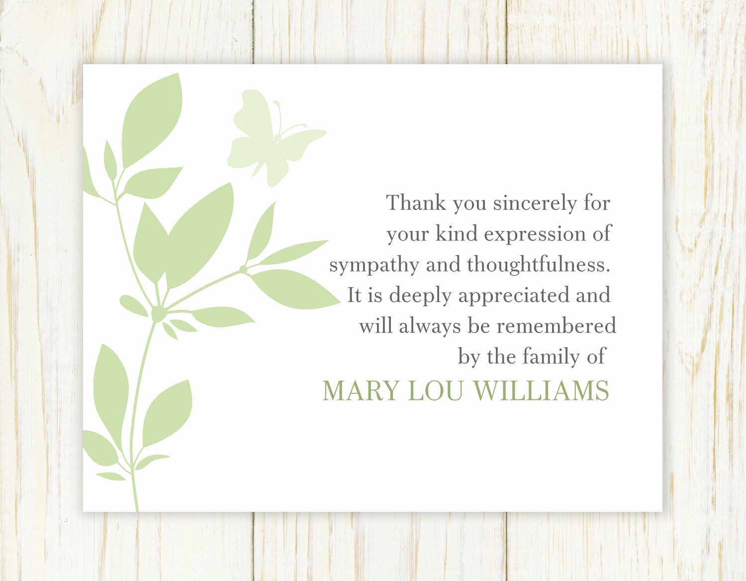 Funeral Thank You Sayings Elegant butterfly Funeral Thank You Card Digital File Sympathy