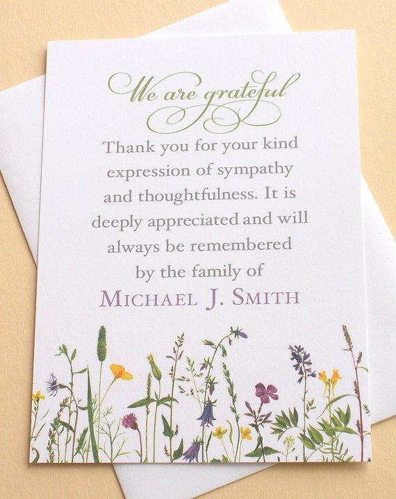 Funeral Thank You Sayings Fresh Sympathy Thank You Cards with Pretty Wild Flowers