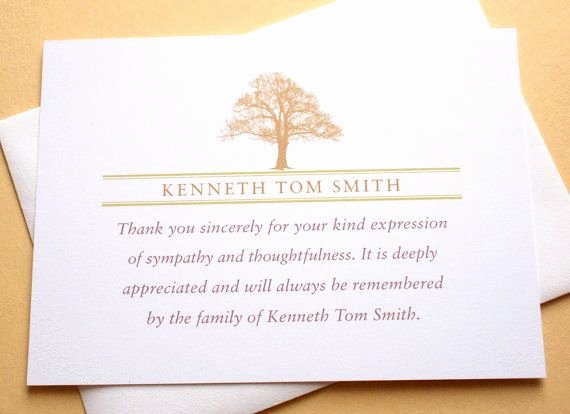 Funeral Thank You Sayings New Funeral Thank You Notes with A Strong Tree Personalized