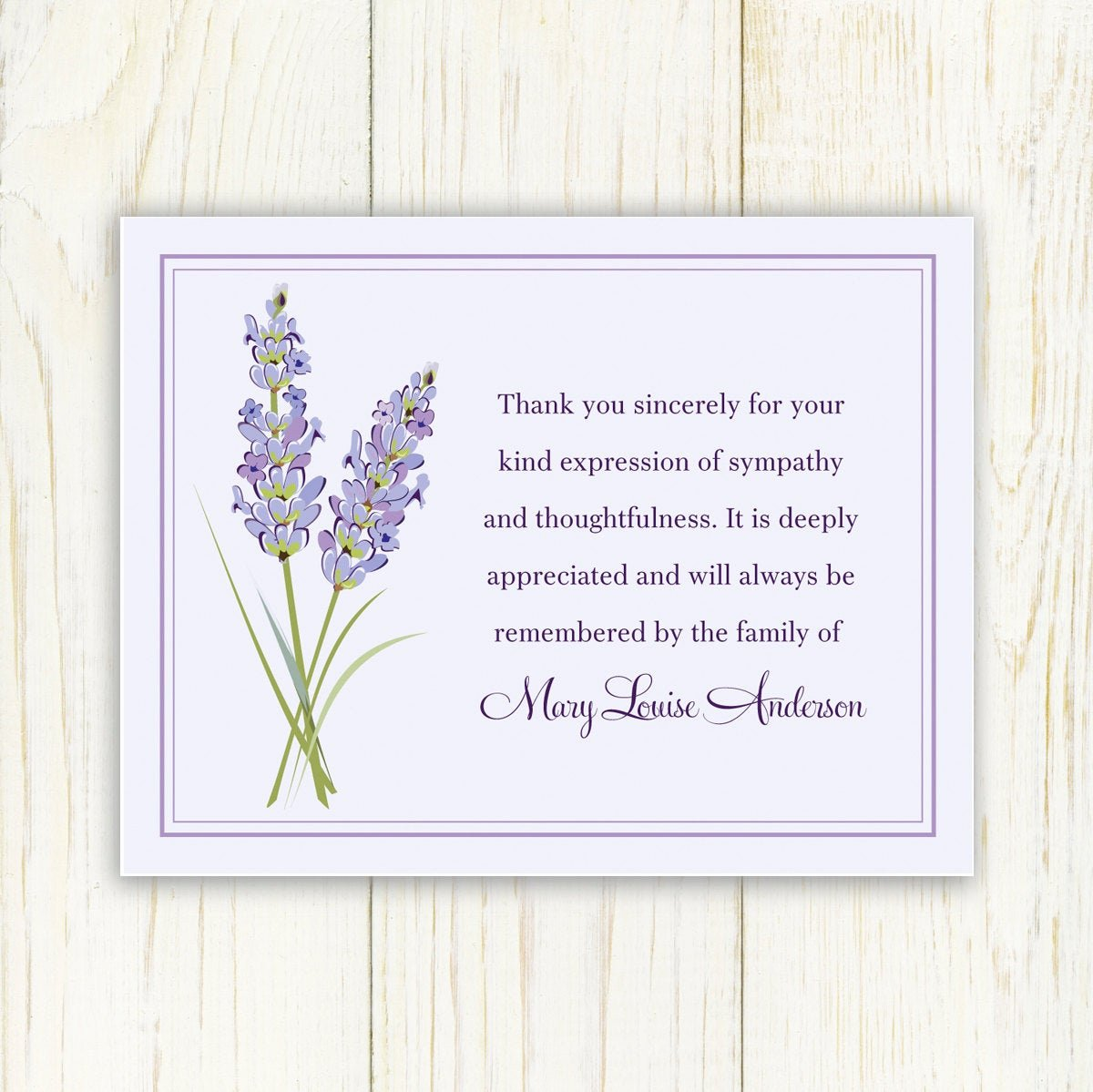 Funeral Thank You Sayings New Lavendar Funeral Thank You Card Printable Digital File