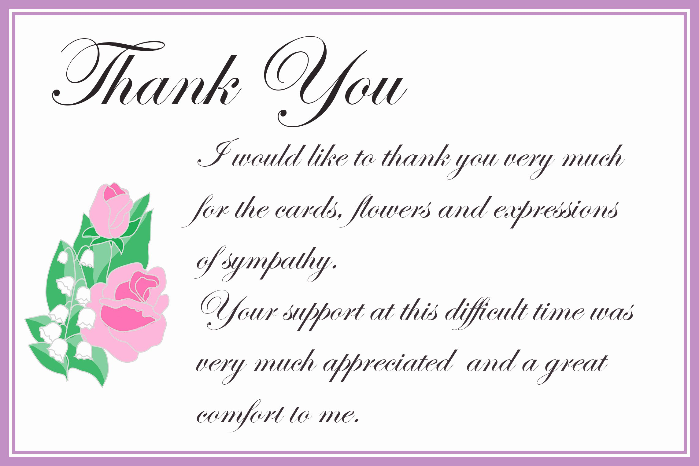 Funeral Thank You Sayings New Printable Thank You Cards – Free Printable Greeting Cards