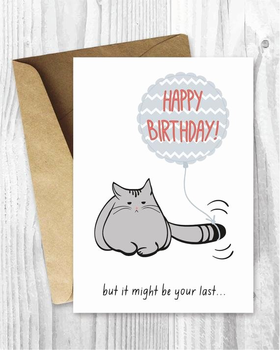 Funny Birthday Card Printable Lovely Birthday Card Printable Birthday Card Funny Cat Birthday