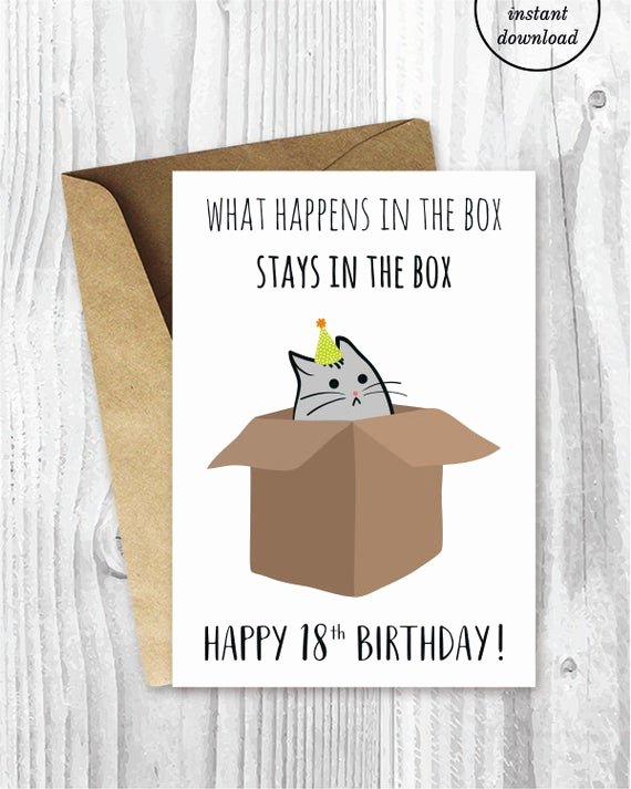 Funny Birthday Card Printable Luxury 18th Birthday Printable Cards Funny 18th Birthday Cards