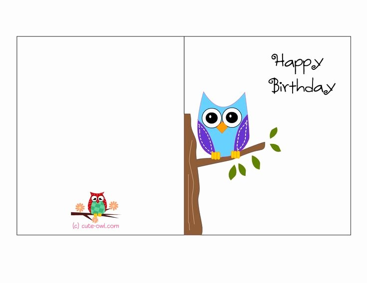 Funny Free Printable Birthday Cards Luxury Cute Owl Sitting On A Branch Happy Birthday Card
