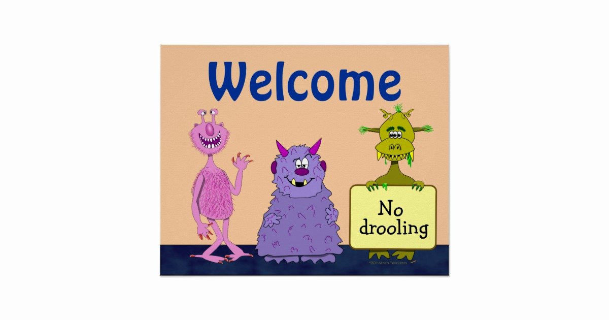 Funny Posters for Kids Beautiful Funny Cute Monsters Wel E Back to School Kids Poster