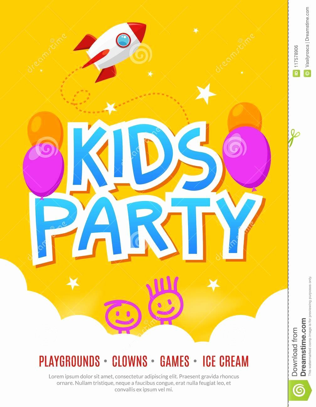 Funny Posters for Kids Beautiful Kids Fun Party Celebration Flyer Design Template Child