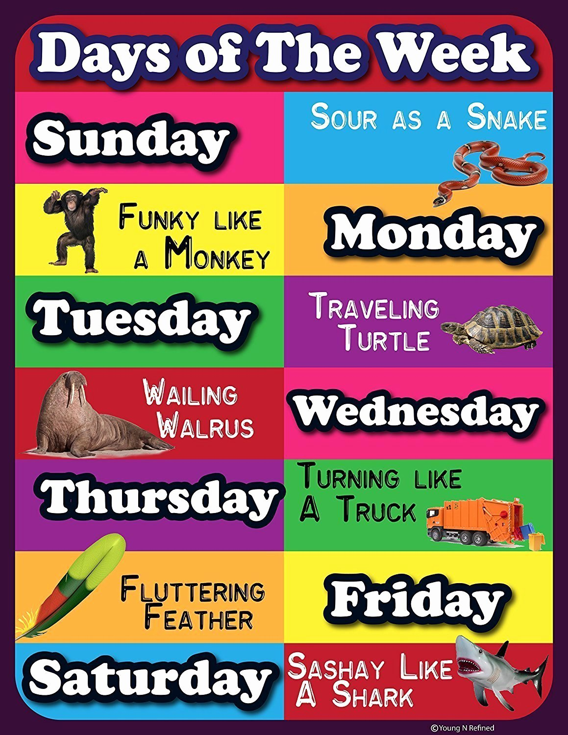 Funny Posters for Kids Fresh Days Of the Week Lamintated Educational Chart Fun Poster
