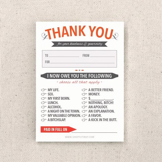 Funny Thank You Messages Beautiful Funny Thank You Notes Sticky Notes Sarcastic by Flytrap E
