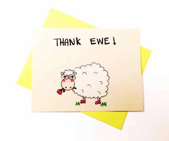 Funny Thank You Messages Elegant Funny Thank You Card Thank Ewe original Art by Lovencreativity