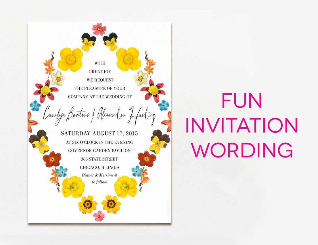 Funny Wedding Invitation for Friends New Wedding Invitation Wording Examples In Every Style