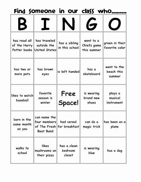 Game Templates for Teachers Awesome People Bingo Templates Class Reunion