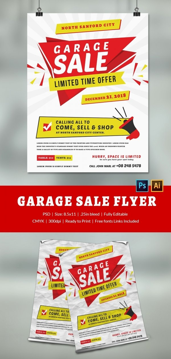 Garage Sale Flyer Template Lovely 14 Best Yard Sale Flyer Templates & Psd Designs