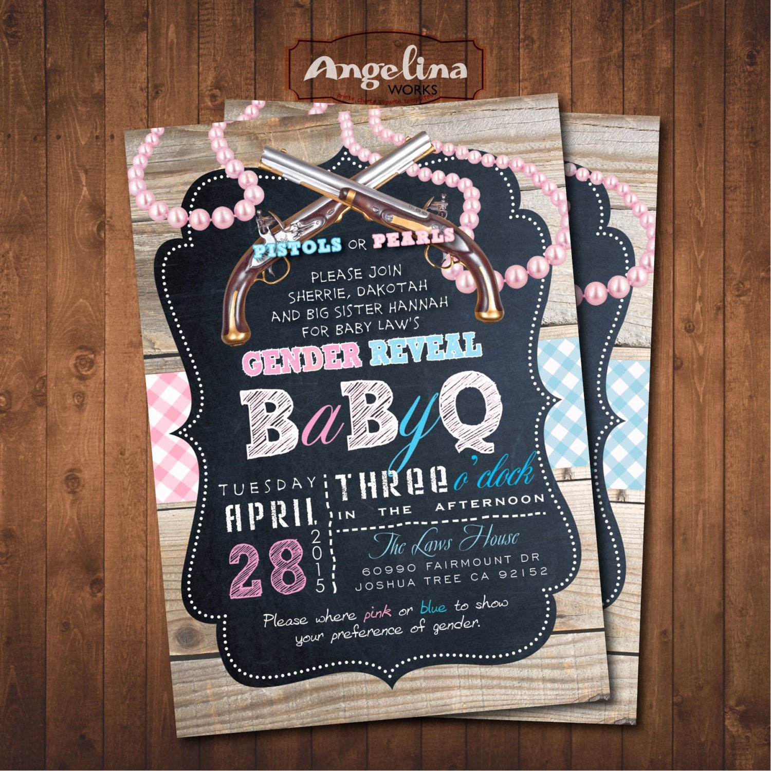 Gender Reveal Bbq Invitations Beautiful Pistols or Pearls Gender Reveal Baby Q Shower Invitation