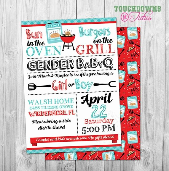 bbq gender reveal invitation barbeque