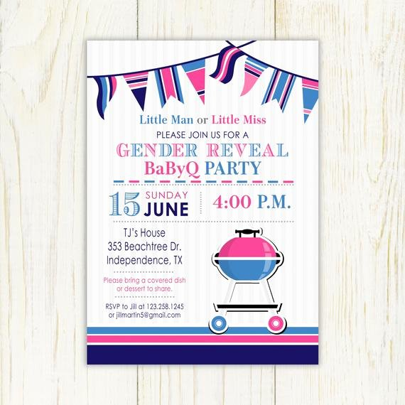 Gender Reveal Bbq Invitations Best Of Gender Reveal Bbq Invitation Barbeque 5x7 or 4x6 Printable