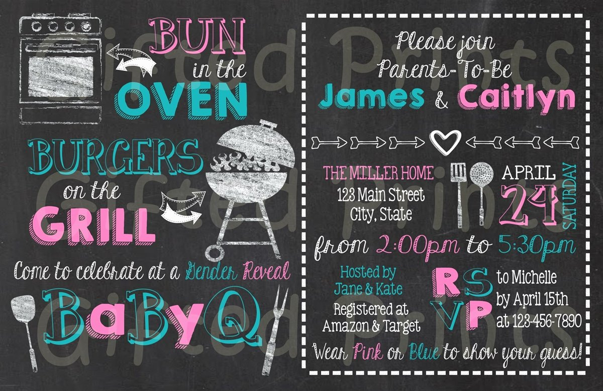 Gender Reveal Bbq Invitations Best Of Gender Reveal Invitation Baby Q theme