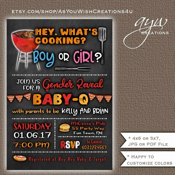 Gender Reveal Bbq Invitations Elegant Bbq Baby Shower Gender Reveal Invitation Printable