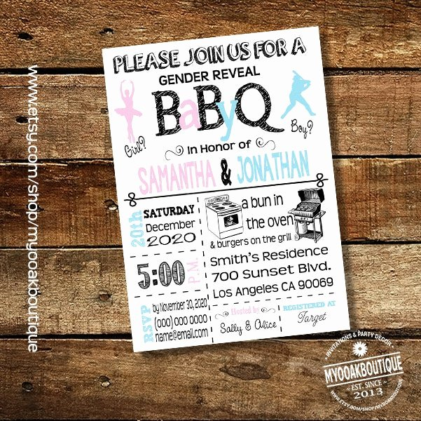 Gender Reveal Bbq Invitations Lovely Bbq Gender Reveal Invitation Ballet Baseball Baby Q Couples