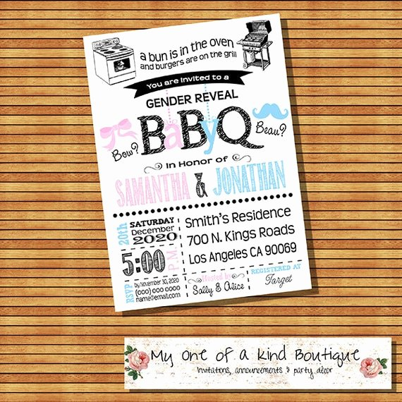 Gender Reveal Bbq Invitations Luxury Bbq Gender Reveal Invitation Baby Q Gender Reveal Invite Bow