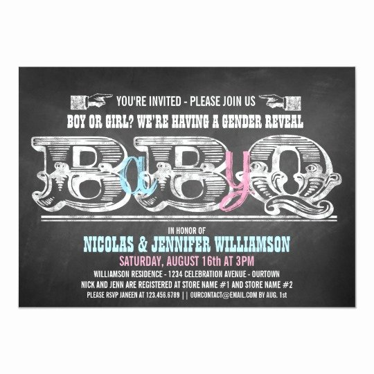 Gender Reveal Bbq Invitations New Babyq Gender Reveal Barbeque Invitations
